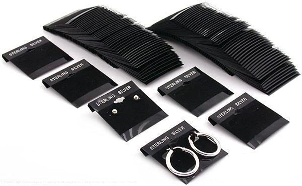 100 Black Sterling Silver Hanging Earring Cards 2