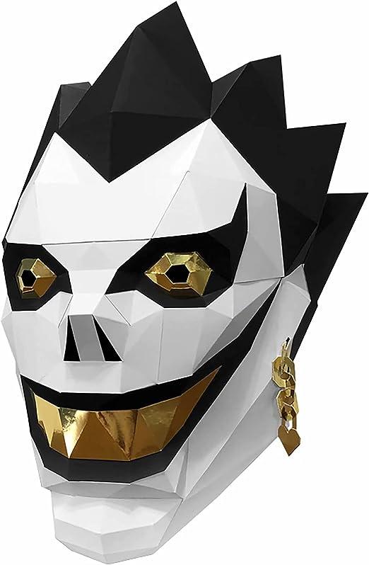 D-eath N-ote 3D Card Craft Ryuk Helmet, Anime Death God Ryuk Cosplay Mask, Puzzle Handmade Origami Toy for Anime Fans