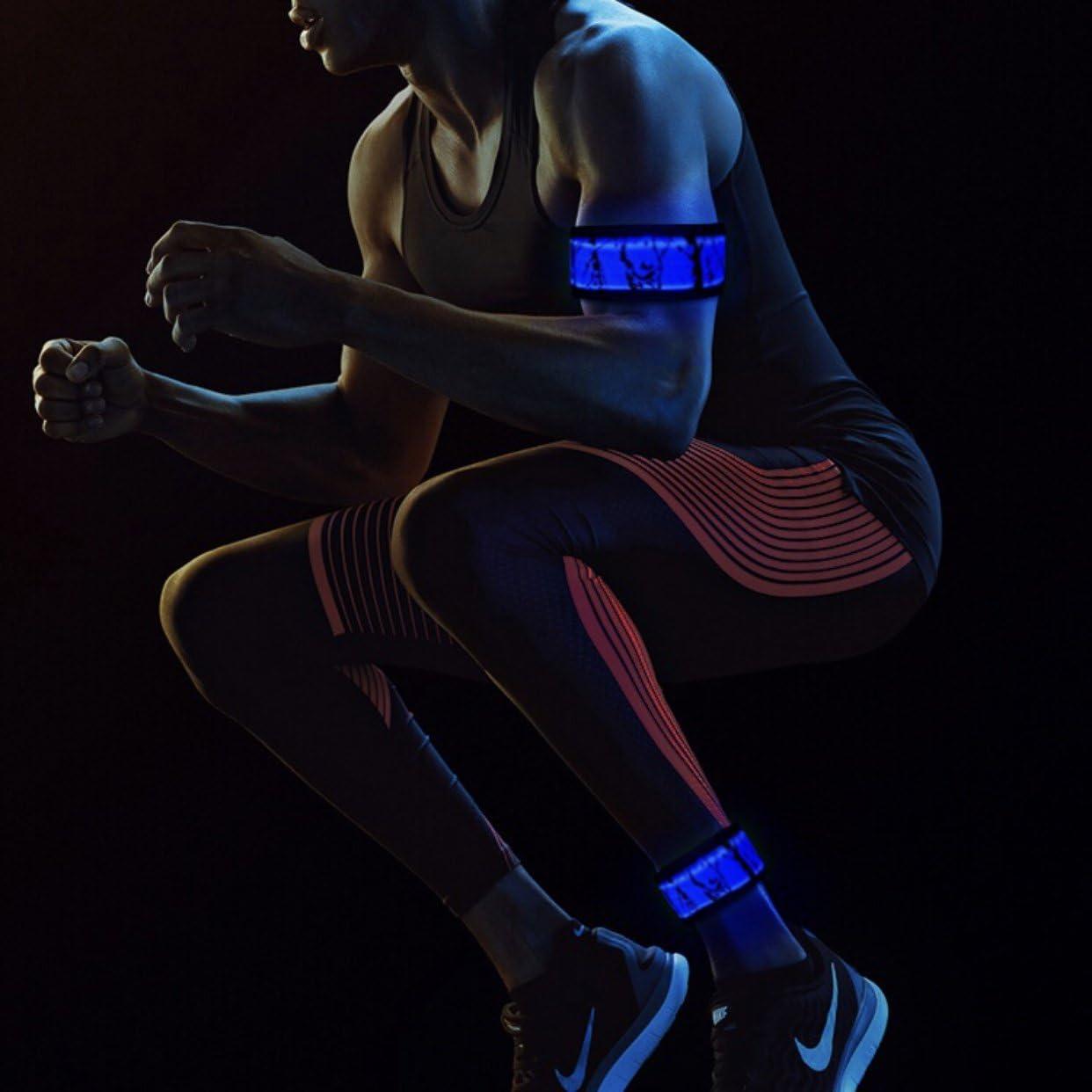 UK Safety Flashing LED Light up Reflective Arm Band Hiking Running Bike Cycling