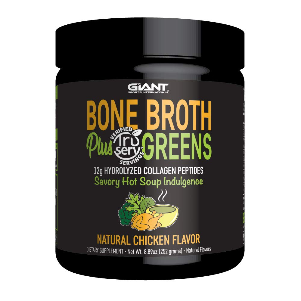 Giant Sports Bone Broth Plus Greens & Collagen Peptides Protein Powder | USDA Certified Organic | For Healthy Skin, Nails, Hair, Joints & Digestion | Keto Friendly | Natural Chicken Flavor 14 Servings by Giant Sports International