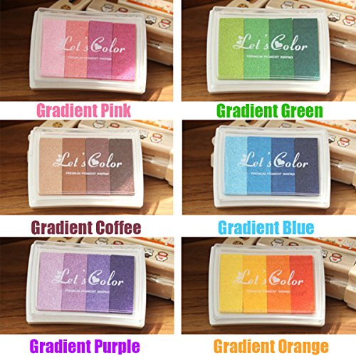 PartyYeah 12-Pack Creative DIY Multicolor Gradient Color Rainbow Finger Stamps Ink Pad Craft Stamp Pad for Baby Kids, 24 Gradient Colors by PartyYeah
