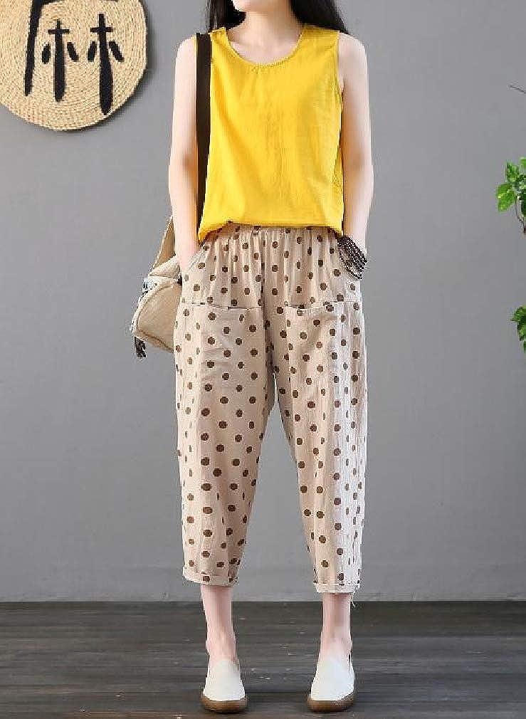 Abetteric Women Elastic Waist Mid Rise Polka Dot Print Haren Pants Pockets Pants
