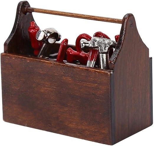 Caja de herramientas de la casa de muñecas con herramientas, caja de herramientas en miniatura Modelo