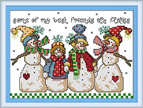 Crossdecor Stamped Cross Stitch with Pre-printed Pattern 11 Count Easy Kits, Snowman (No Frame)