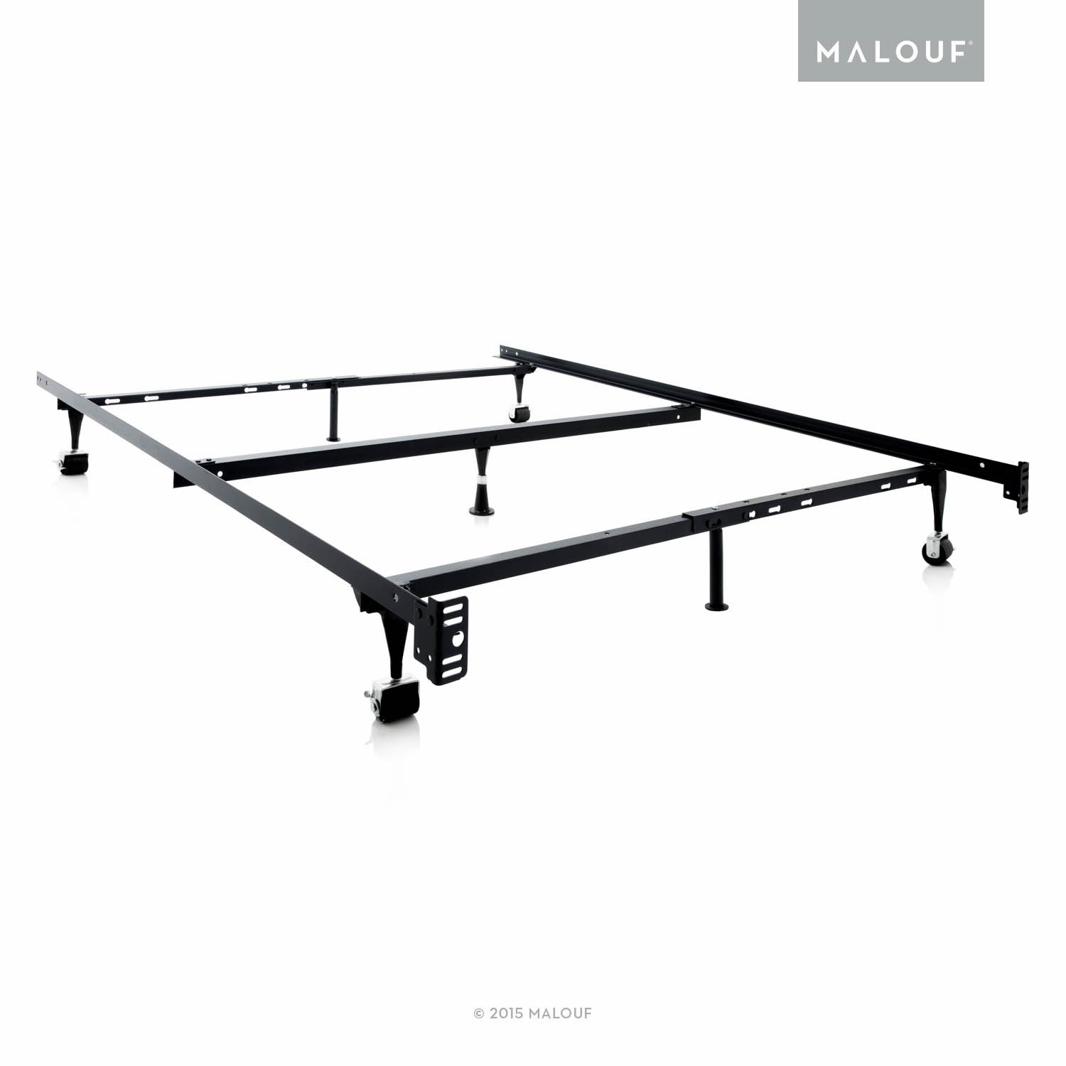 MALOUF STRUCTURES Heavy Duty Adjustable Metal Bed Frame with 7 Legs, Center Support and Glides Only - (Queen, Full XL, Full, Twin XL, Twin) ST5033GL