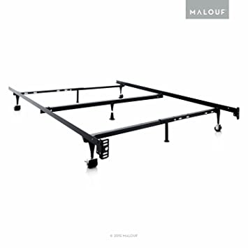 structures by malouf heavy duty adjustable metal bed frame with center support and rug rollers