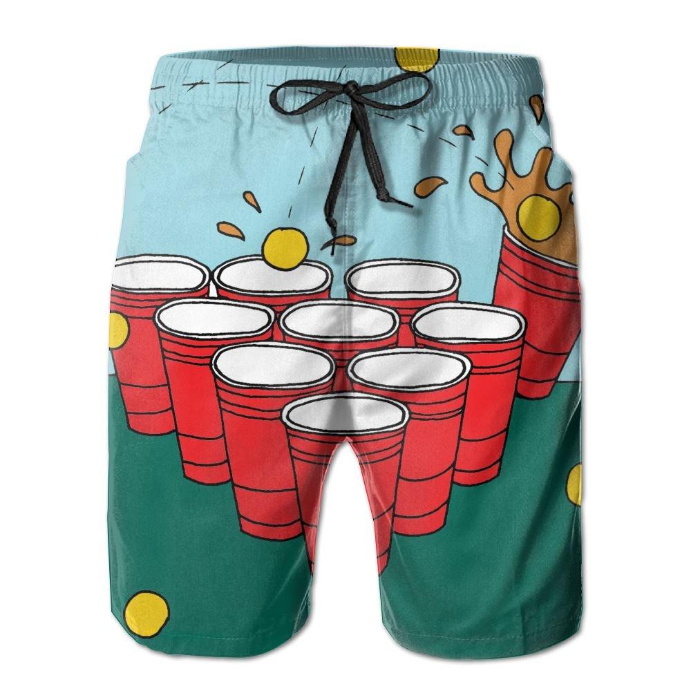 Cjhxqt Beer Pong Mens Boardshorts Swim Trunks Not Fade Athletic Shorts Mens Swim Trunks