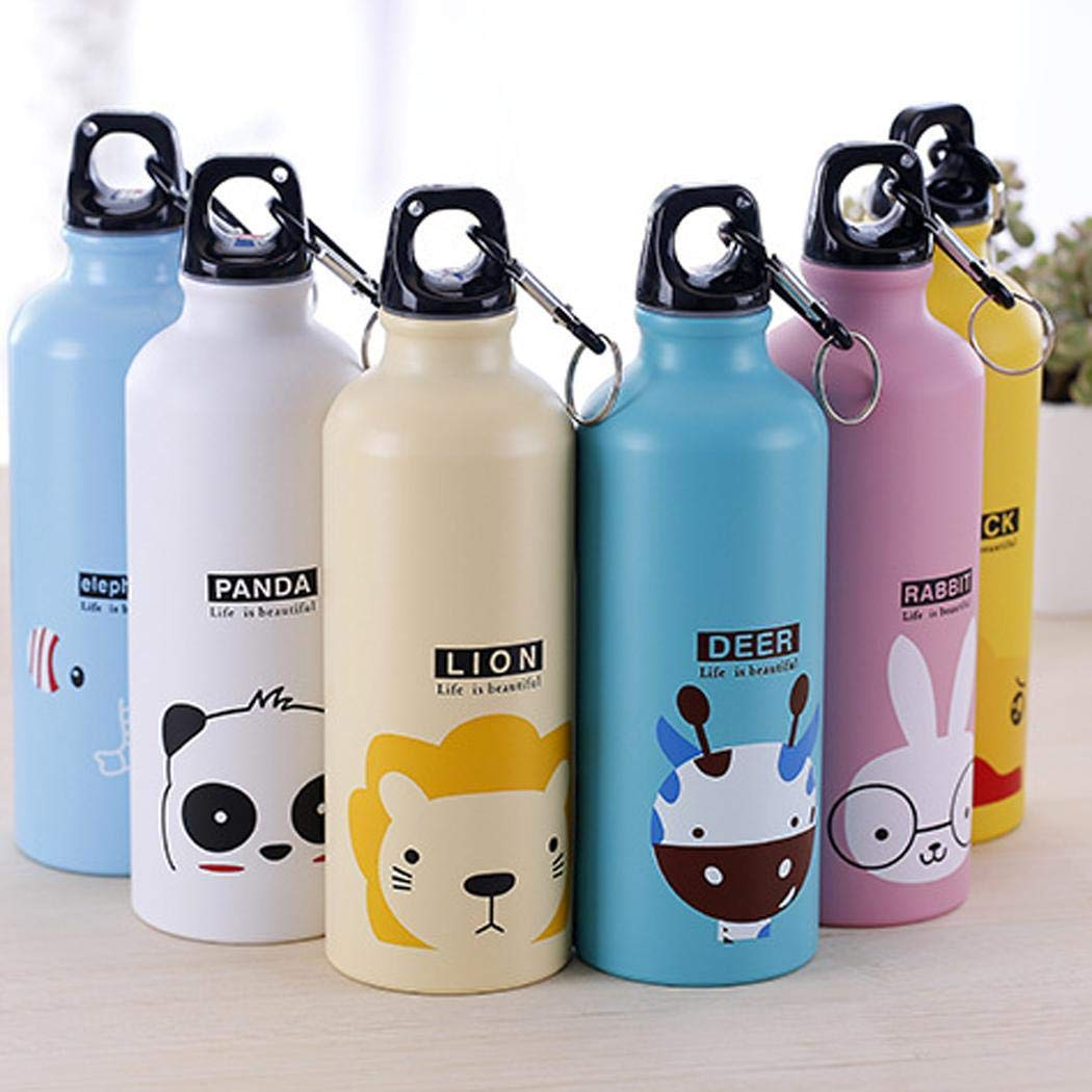Lazinem 500mL Cartoon Animal Pattern Aluminum Alloy Thermos Cup Water Bottle Travel Insulated Tumblers