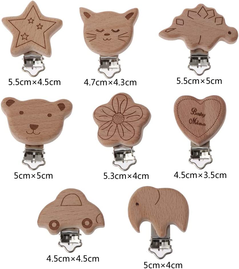 Vivitoch 8 Style Lovely Wooden Pacifier Chain Natural Beech Wood Baby Pacifier Clips DIY Dummy Clips Accessory