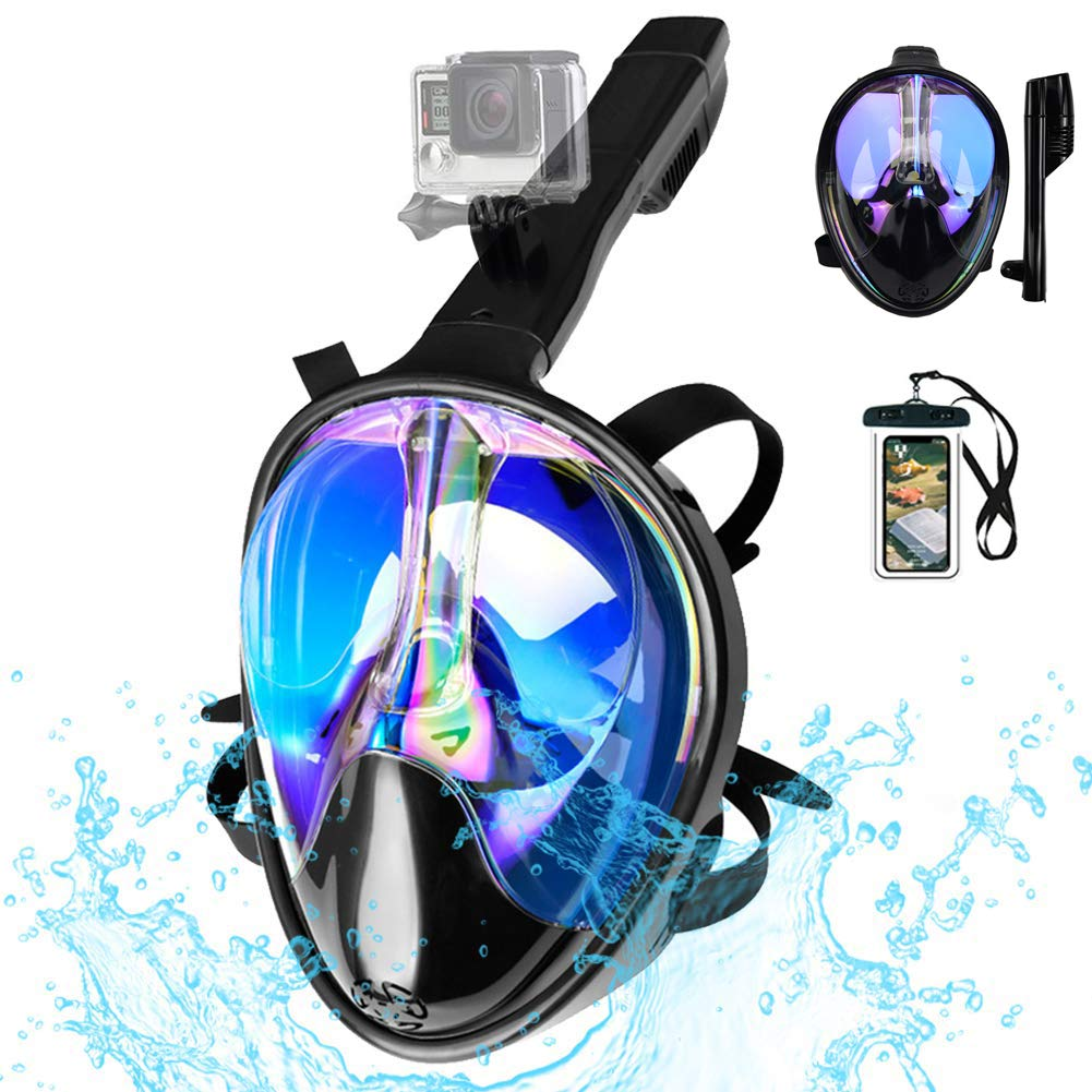 Full Face Snorkel Mask 180 View Snorkeling Mask for Adults Scuba Mask with Detachable Camera Mount Snorkeling Mask 180 Panoramic View Anti Fog Leak UV Dry Top Set with Adjustable Straps by LBLA