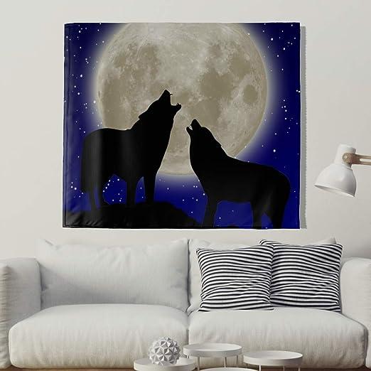 Paño de pared con luna completa e indio de lobo, tatuaje de pared ...