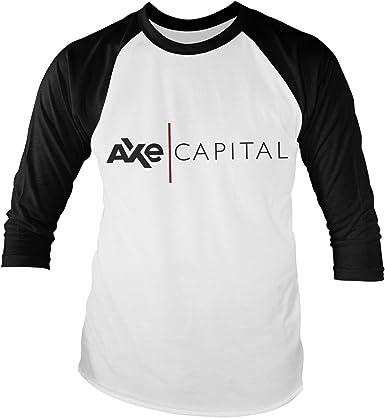 Billions Oficialmente Licenciado AXE Capital Baseball Manga Larga Camiseta (Blanco/Negro)