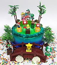 Cake Toppers Super Mario Brothers Deluxe Game Scene Birthday Set Featuring Figures and Decorative Themed Accessories