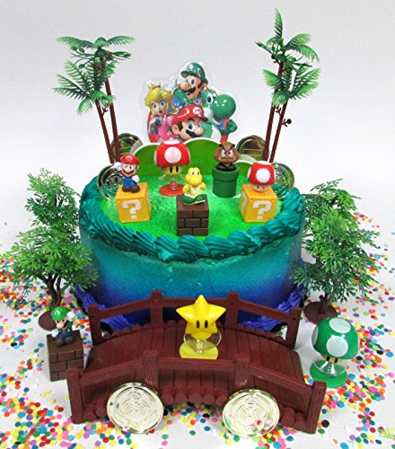 Super Mario Brothers Deluxe Game Scene Birthday Cake Topper Set Featuring Figures and Decorative Themed Accessories (Mario Cakes)