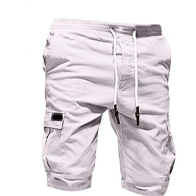 445dddcbe075d Pantalon Cargo Homme Été AIMEE7 Casual Outdoor Multipoches Bermudas Short  de Sport Couleur Unie Pantalon Court