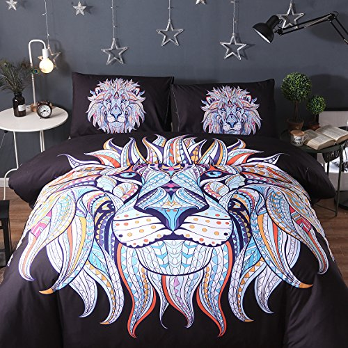 Colorful Black Lion Head Cotton Microfiber 3pc 90''x90'' Bedding Quilt Duvet Cover Sets 2 Pillow Cases Queen Size by DIY Duvetcover