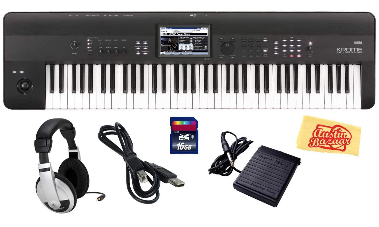 Korg Krome 73 Key Semi-Weighted Music Workstation Keyboard Bundle with SD Card, USB Cable, Sustain Pedal, Headphones and Polishing Cloth by Korg