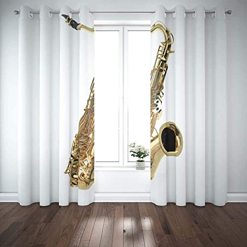 Pamime 2 Panels Curtains 52X84 Inch,Blackout Window Curtain Against White Background Sax Window Curtain Panels for Bedroom Living Room Kitchen