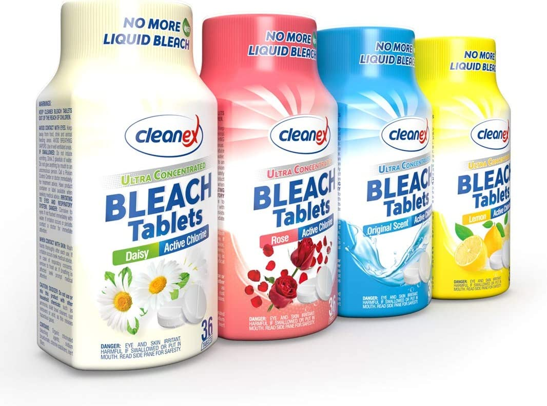 Cleanex Bleach Tablets, New Advanced Formula Ultra Concentrated Water-Soluble Bleach Tablets for Laundry and Multipurpose Cleaning 36 Tablets No Phosphate NO MORE LIQUID BLEACH! (Variety Pack 4 Packs)