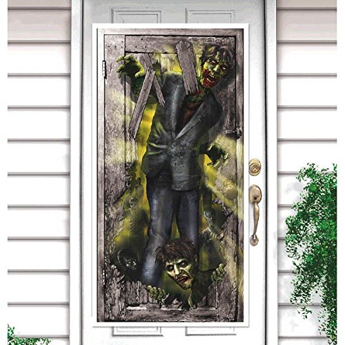 amscan Vertical Zombie Apocalypse Banner Halloween Trick or Treat Party Decoration, Plastic, 65
