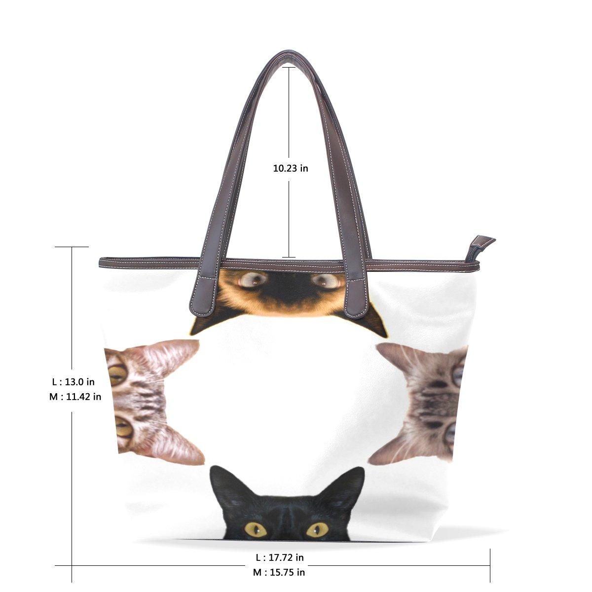 Mr.Weng Household Cat Head Lady Handbag Tote Bag Zipper Shoulder Bag