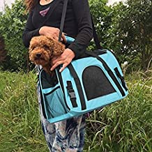 SaveOnMany ® Zipper Window Lockable Soft Sided Pet Dog Cat Carrier Travel Bag Mesh Crate Tote Airline Approved HandBag For Transport Outdoor Car (Blue, M)