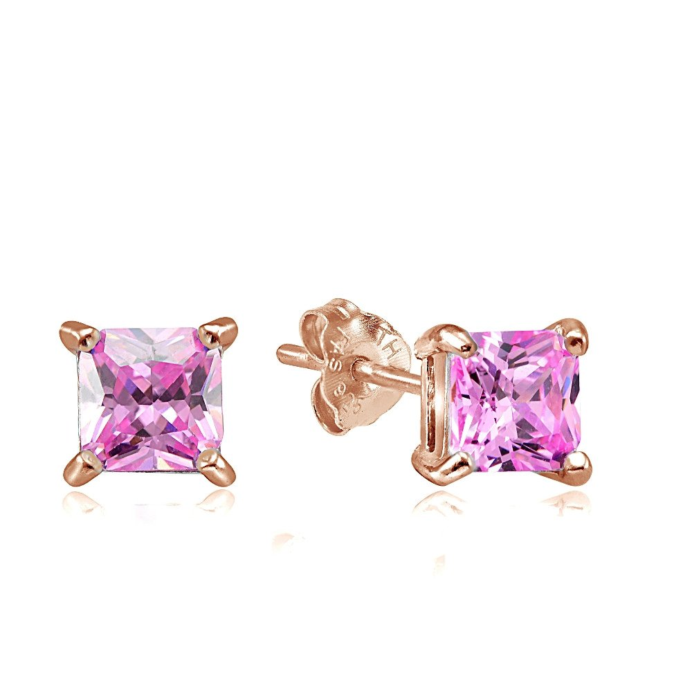 a8005e6566d29 Hoops & Loops Sterling Silver Pink Cubic Zirconia Square Stud Earrings All  Sizes