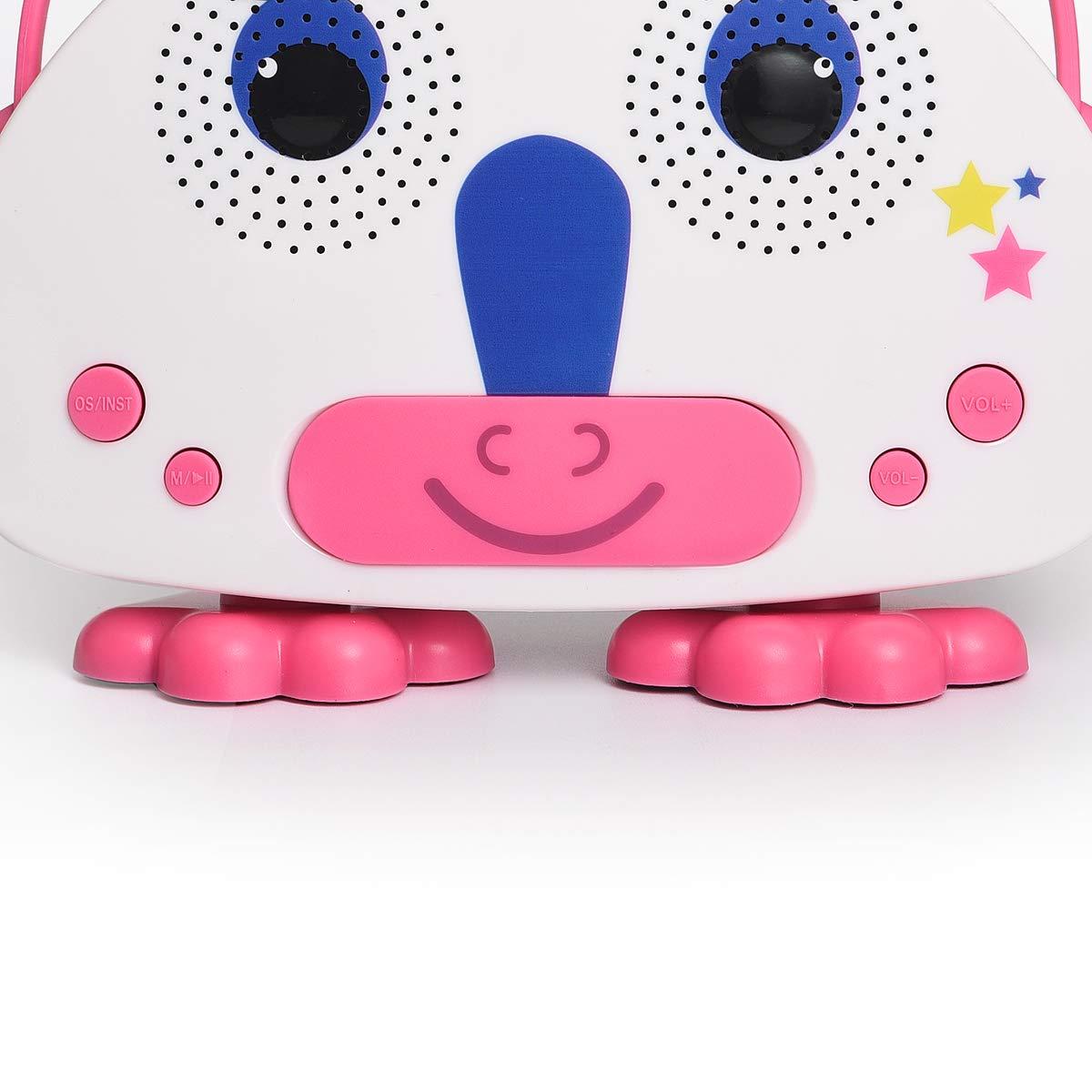 HowQ Outdoor Toys Karaoke Machine , Portable Kids Karaoke Bluetooth Speaker Wireless Cartoon Speaker for Kids for Indoor Toys Travel Activities with Microphone Karaoke Machine(Pink-White) by HowQ (Image #5)