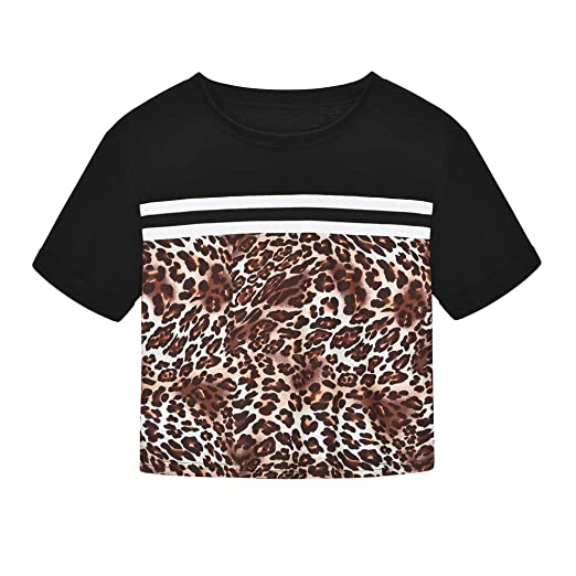c634c652 Lavany Women's Crop Tops Sexy Leopard Printed Blouse Short Sleeve Tight  T-Shirt at Amazon Women's Clothing store:
