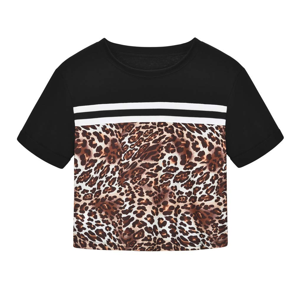 FEDULK Women Leopard Tees Colorblock Patchwork O Neck Sexy Blouse Short Sleeve Tight Lightweight Sexy T-Shirt(Black, X-Large)