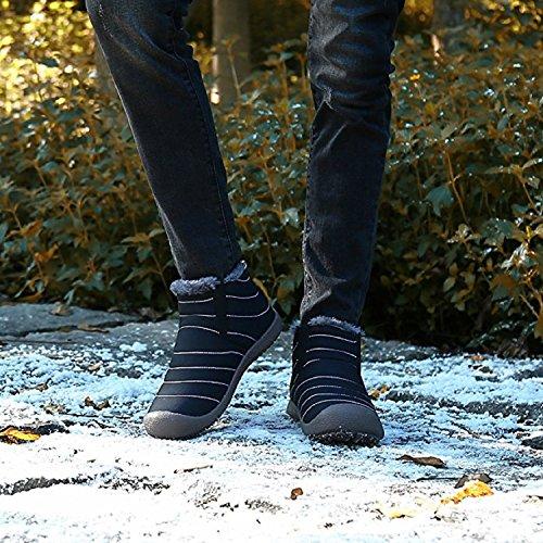 Rioneo Piatto Outdoor de Nero Stivaletti Caviglia Scarpe Nero Botas Invernali 48 Grigio Uomo Impermeabile Caldo Blue Neve 36 Stivali rXnzrq41