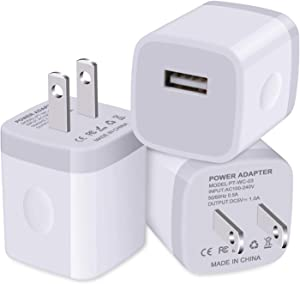 Charger Block for iPhone, USB Cube, Charging Brick, NonoUV 3-Pack Single Port Wall Charger 1A/5V Charger Box USB Power Adapter Plug for iPhone SE (2020)/11 Pro/XR/XS Max/8/7/6/6S Plus, iPad, Samsung