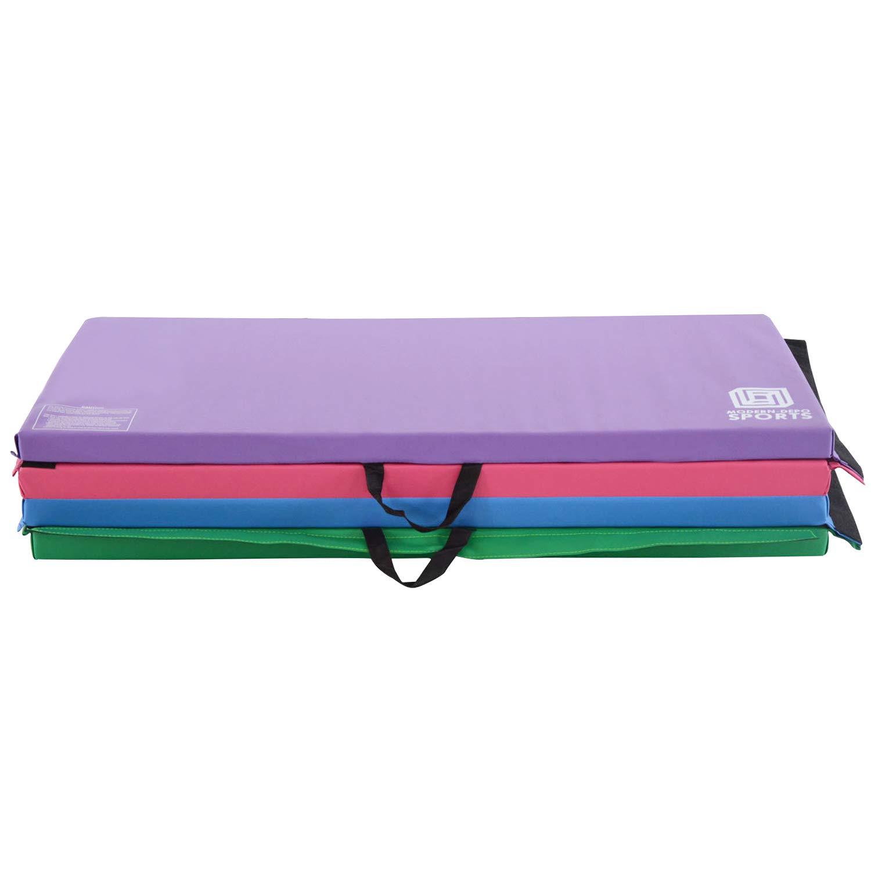 Modern-Depo Junior PRO Gymnastics Kip Bar w/ 10'x4'x2 Tumbling Folding Mat   Adjustable (3'- 5') Training Horizontal Bar Beech Wood - Purple by Modern-Depo (Image #5)