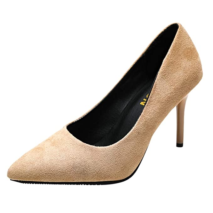 42637f0e9f6 2019 Spring Stiletto High Heel Shoes for Women Classic Flock Pointed Closed  Toe Classic Slip On Evening Party Dress Pumps at Amazon Women s Coats Shop