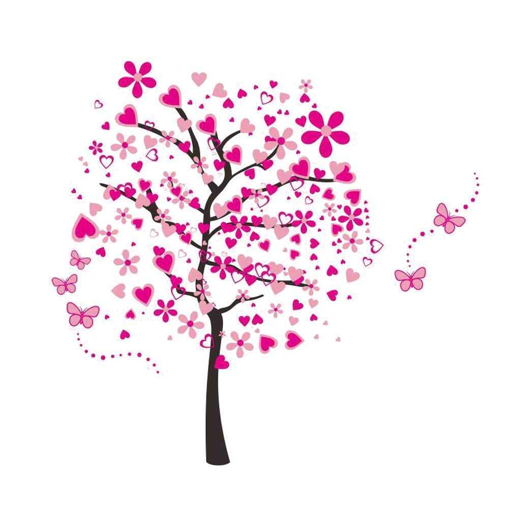 ElecMotive Huge Size Cartoon Heart Tree Butterfly Wall Decals Removable Wall Decor Decorative Painting Supplies & Wall Treatments Stickers for Girls Kids Living Room Bedroom EW-1306