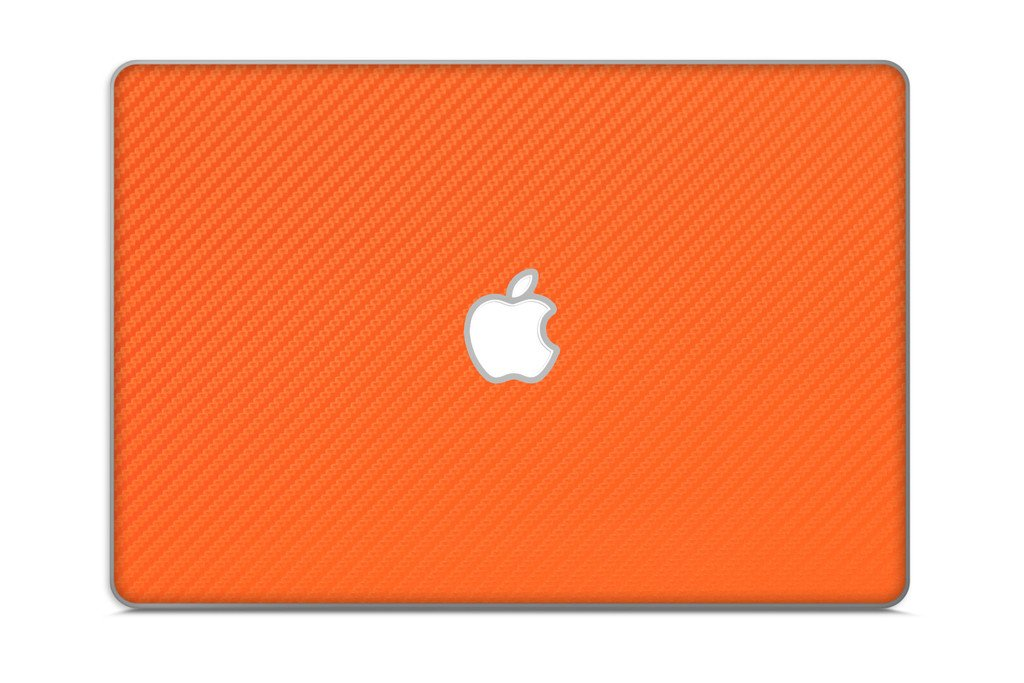 iCarbons Orange Carbon Fiber Vinyl Skin for MacBook Pro 17'' (Silver Unibody 2009-2012) Full Combo