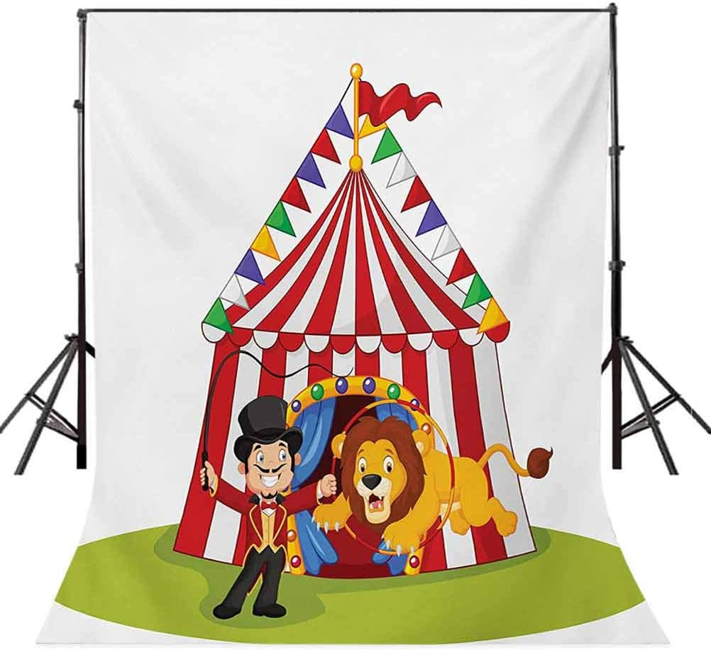 Circus 6.5x10 FT Photo Backdrops,Cartoon Lion Jumping Through The Ring with Circus Tent Celebration Performance Show Background for Photography Kids Adult Photo Booth Video Shoot Vinyl Studio Props