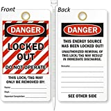 Locked Out Do Not Operate, Heavy Duty 15 mil thick Vinyl Tag, 25 Tags / Pack, 3.25'' x 6''