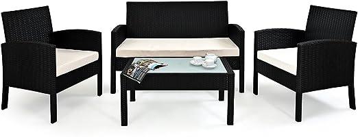 Deuba | Salon de Jardin Lounge - en polyrotin • Set Complet + Coussins |  Noir • Housses Amovibles et lavables | Résistant aux intempéries et UV | ...
