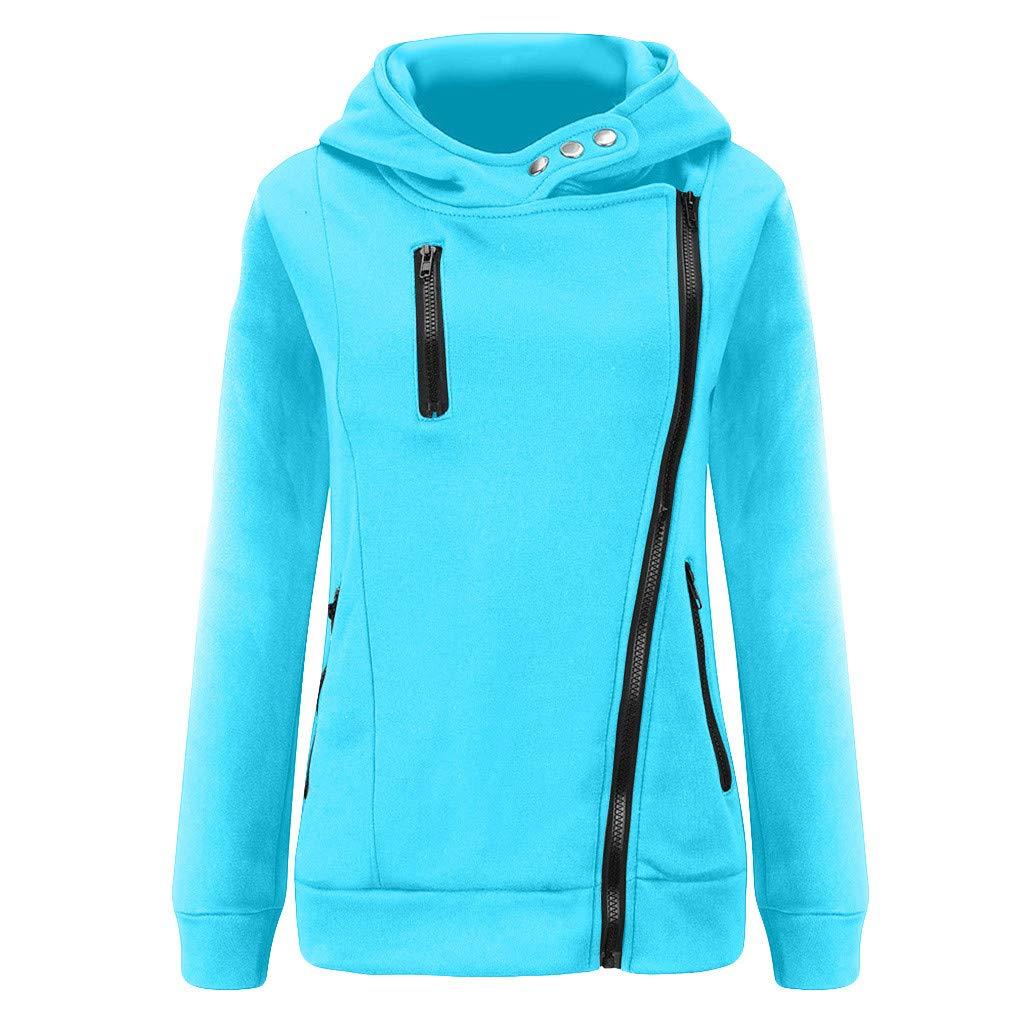 Shusuen Women's 3/4 Long Sleeve Hoodie Open Front Jacket Zipper Outwear Coat with Pockets Light Blue by Shusuen