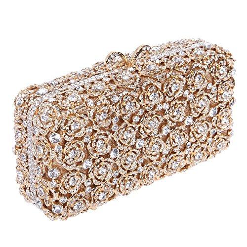 Damen Clutch Abendtasche Handtasche Geldbörse Schick Strass Kristall Kleine Blume Lang Tasche mit wechselbare Trageketten von Santimon(7 Kolorit) Gold