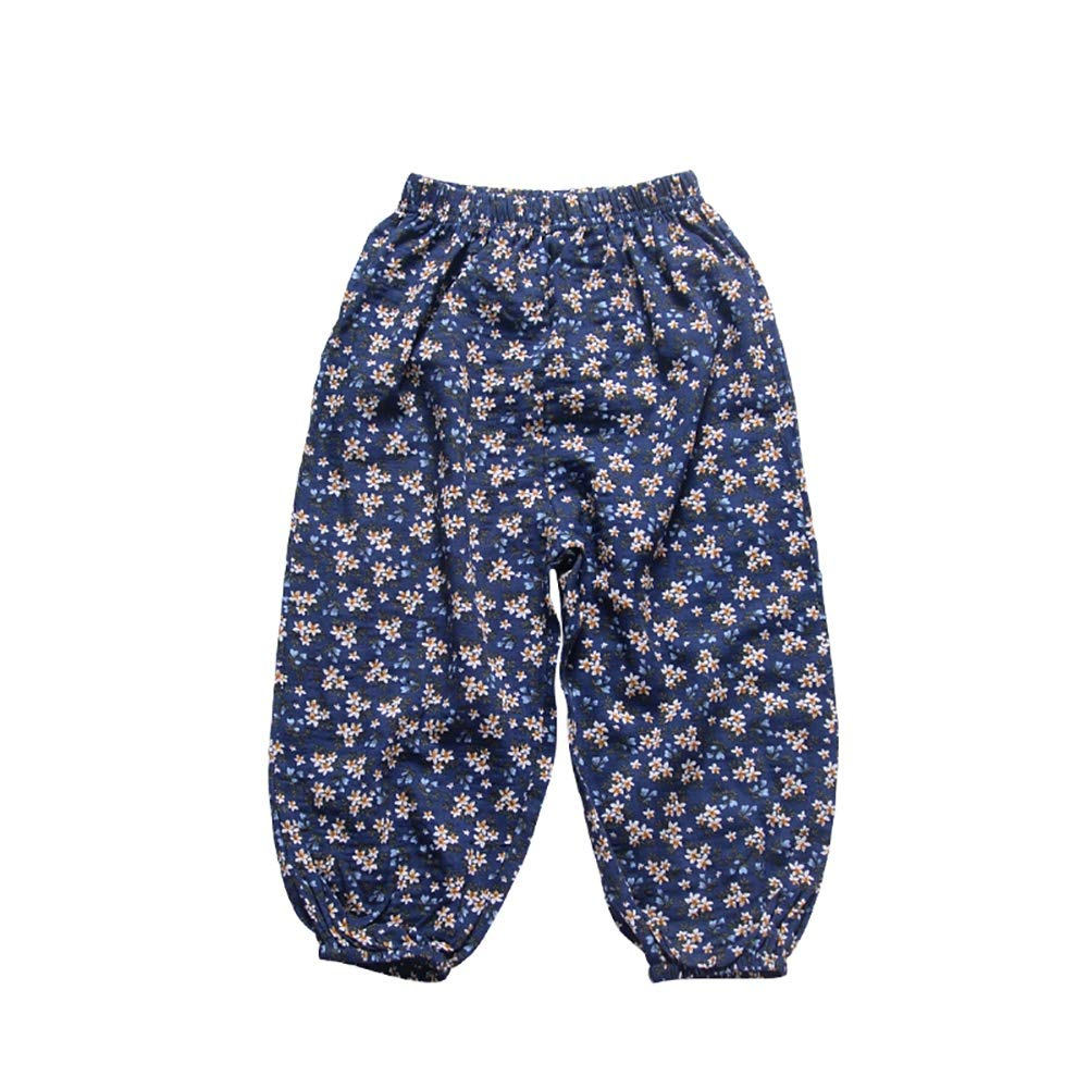Miyanuby Pants for Kids Toddler Baby Girls Summer Cotton Loose Floral Trousers Casual Sports Beach Pants Clothes for 1-5 Years Old Girls