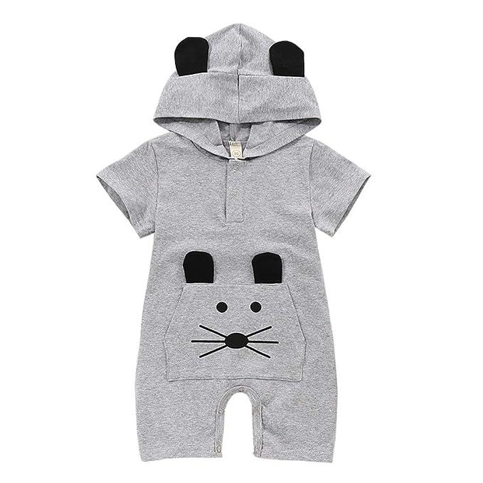 MRURIC Baby Jungen Strampler Sommer Kurzarm Jumpsuits Spielanzug Babykleidung Niedlich Karikatur Drucken Kleidung Kinderkleidung und Hut 100/% Baumwolle