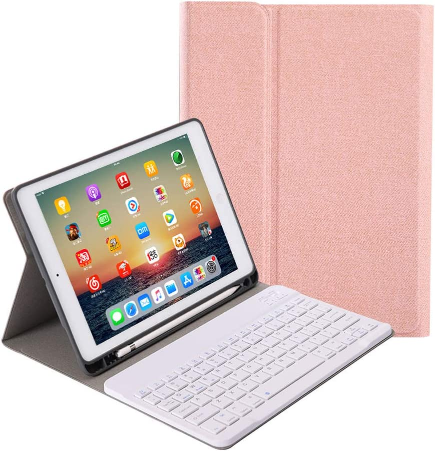 """for New iPad 7th Generation 10.2"""" 2019 Keyboard Case, Slim Folio Cover Removable Detachable Wireless Bluetooth Keyboard with Apple Pencil Holder for iPad 10.2 inch 2019 Release (Rose Gold)"""