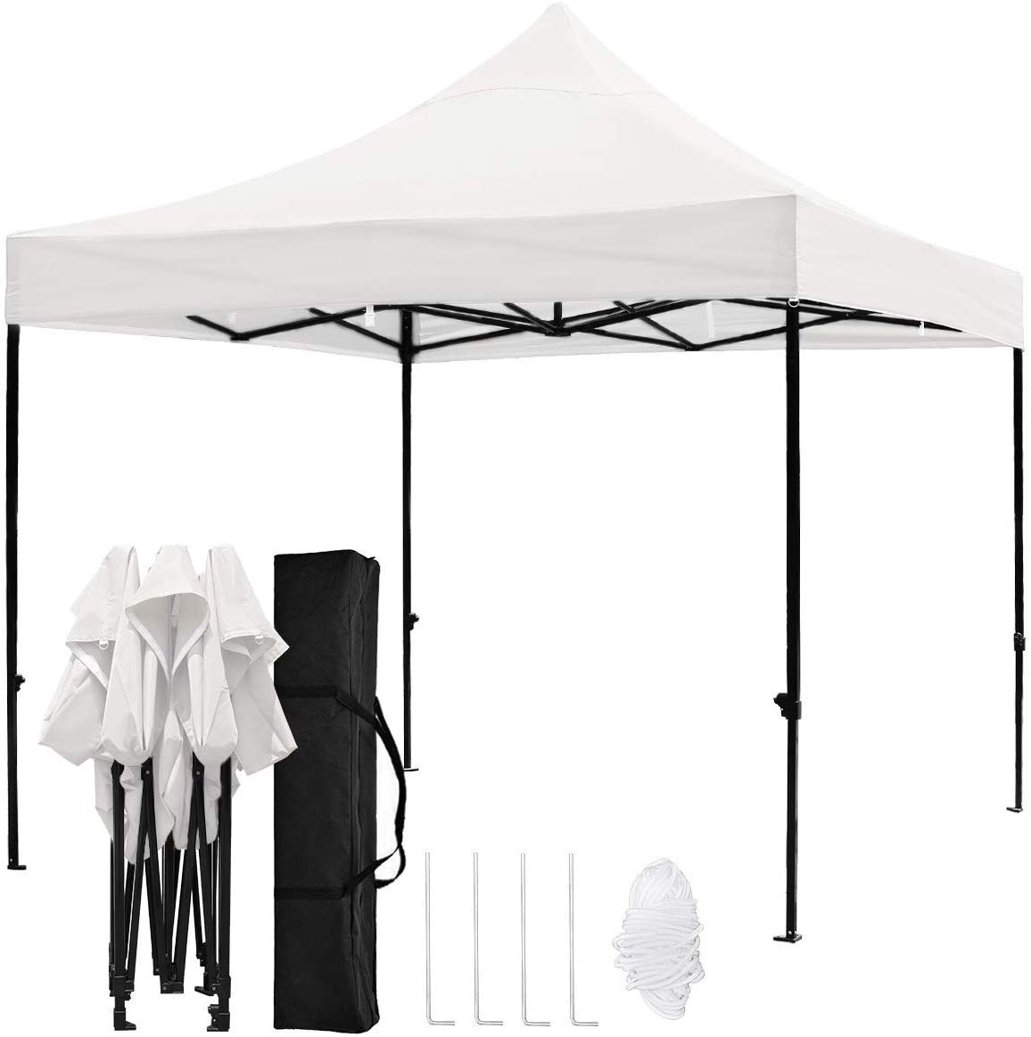 kdgarden 10 x10 Outdoor Easy Pop Up Canopy with 420D Waterproof and UV-Treated Top, Portable Party Shelter Tent with Carrying Bag, White