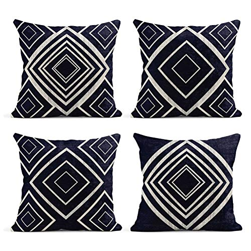 Tarolo Set of 4 Linen Throw Pillow Cover Case Indigo Geometrical Gem Contemporary Decorative Pillow Cases Covers Home Decor Square 20 x 20 Inches Pillowcases