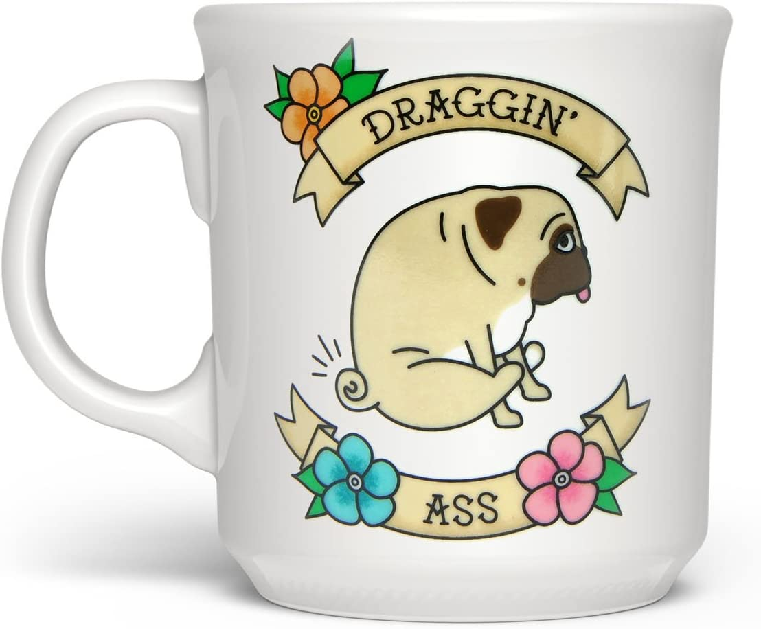 Fred & Friends DRAGGIN FRED SAY ANYTHING MUG, 16 ounces, White