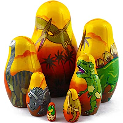 Dinosaur Nesting Dolls - Matryoshka Set 7 Dolls - Dinosaur Toy - Dinosaur Gifts - Dinosaur Decor: Toys & Games