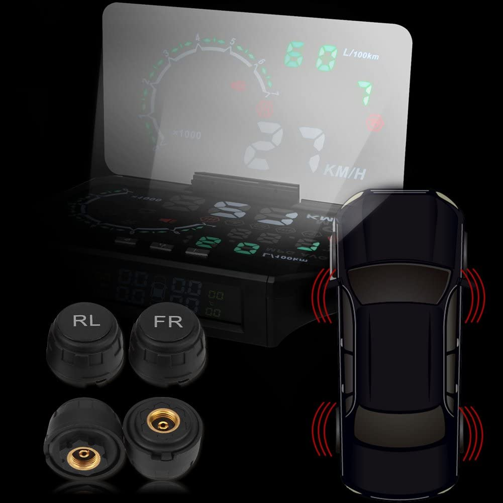 Aramox Car Tire Pressure Monitor Tire Monitor System TPMS HUD Head Up Display Speed Warning OBD2 Interface Set