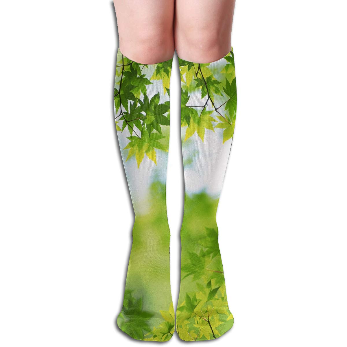Girls Socks Over Knee Green Leaves Sunshine Winter Fabulous For Decor